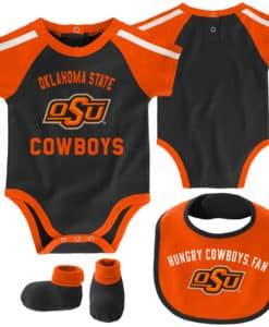 Oklahoma State Cowboys Baby Black Orange 3 Piece Creeper Set