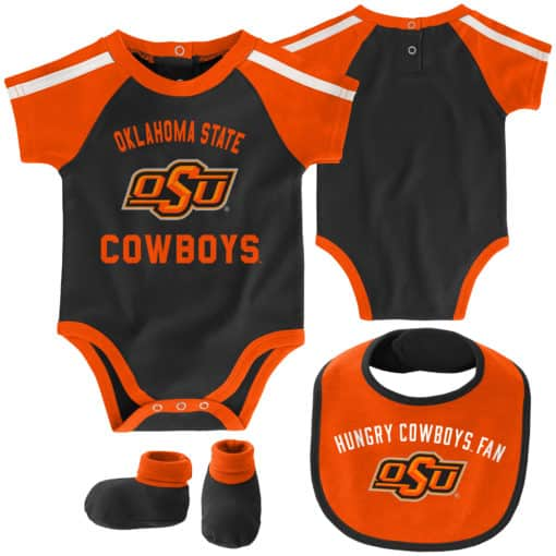 Oklahoma State Cowboys Baby Black Orange 3 Piece Creeper Set