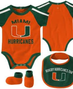 Miami Hurricanes Baby Orange 3 Piece Creeper Set
