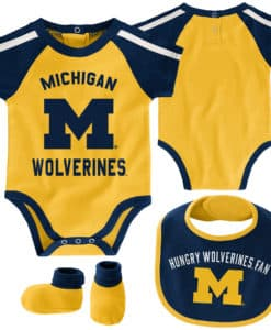 Michigan Wolverines Baby Yellow 3 Piece Creeper Set