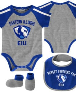 Eastern Illinois EIU Panthers Baby Gray 3 Piece Creeper Set