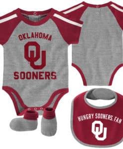 Oklahoma Sooners Baby Gray 3 Piece Creeper Set