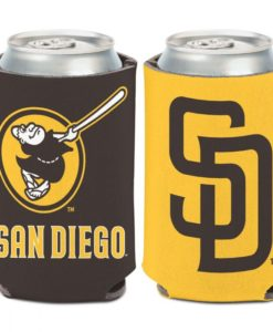 San Diego Padres 12 oz Brown Yellow Logo Can Cooler Holder