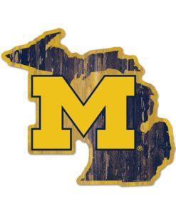 Michigan Wolverines Blue Gold Michigan Shape Wood Sign