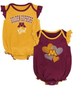 Minnesota Golden Gophers Baby Girl 2 Pack Onesie Creeper Set