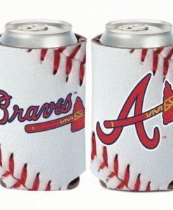 Atlanta Braves 12 oz Ball Design White Can Cooler Holder