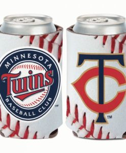 Minnesota Twins 12 oz Ball Design White Can Cooler Holder