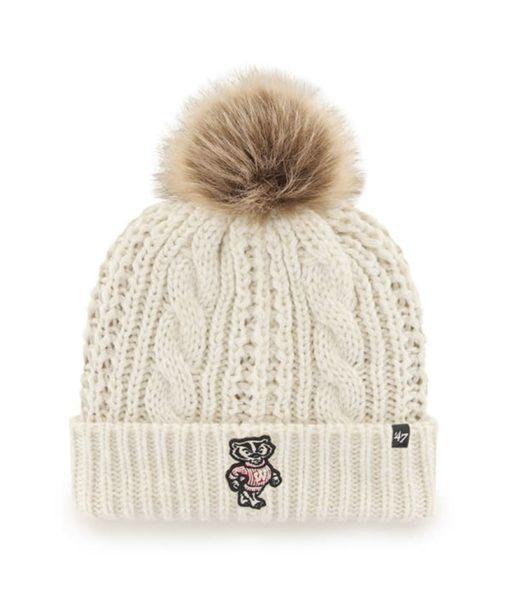 Wisconsin Badgers Women's 47 Brand White Cream Meeko Cuff Knit Hat