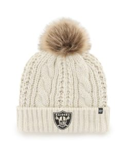 Las Vegas Raiders Women's 47 Brand White Cream Meeko Cuff Knit Hat