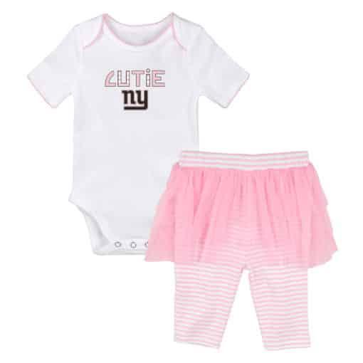 New York Giants Baby Girls Cutie White Pink Creeper Tutu Leggings 2 Piece Set