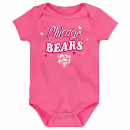 Chicago Bears Baby Girls Pink Glitter Onesie Creeper