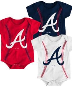 Atlanta Braves Baby 3 Pack Onesie Creeper Set