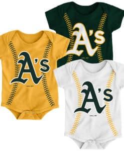 Oakland Athletics Baby 3 Pack Onesie Creeper Set