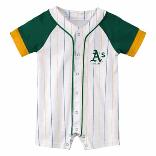 Oakland Athletics Baby White Green Pinstripe Button Up Romper Coverall