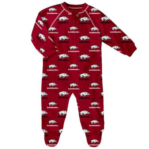 Arkansas Razorbacks Baby Red Raglan Zip Up Sleeper Coverall