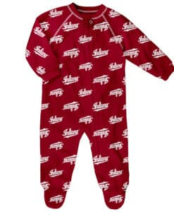 Indiana Hoosiers Baby Red Raglan Zip Up Sleeper Coverall