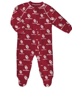 Oklahoma Sooners Baby Red Raglan Zip Up Sleeper Coverall