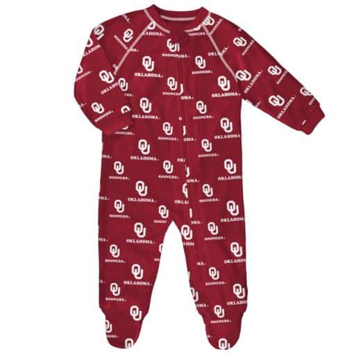 Oklahoma Sooners Baby Red Raglan Zip Up Sleeper Coverall