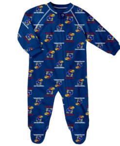 Kansas Jayhawks Baby Blue Raglan Zip Up Sleeper Coverall