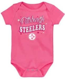 Pittsburgh Steelers Baby Girls Pink Glitter Onesie Creeper