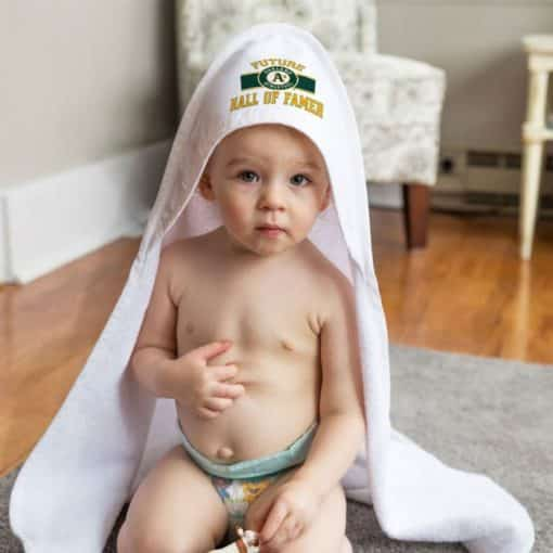 Oakland A's All Pro White Baby Hooded Towel