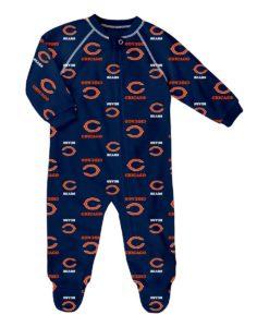 Chicago Bears Baby Navy Raglan Zip Up Sleeper Coverall
