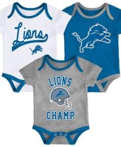 Detroit Lions 3 Pack Champ Onesie Creeper Set