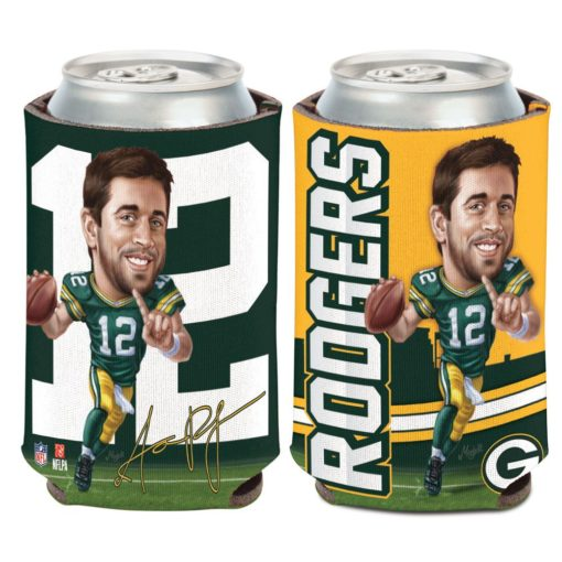 Green Bay Packers Aaron Rodgers 12 oz Green Caricature Can Cooler Holder