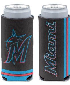 Miami Marlins 12 oz Black Slim Can Cooler Holder