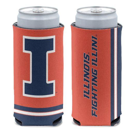 Illinois Fighting Illini 12 oz Orange Slim Can Cooler Holder