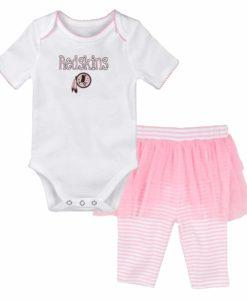 Washington Football Classic Baby Girls White Pink Creeper Tutu Leggings 2 Piece Set