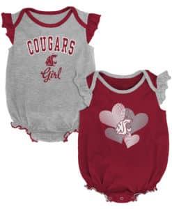 Washington State Cougars Baby Girl 2 Pack Onesie Creeper Set
