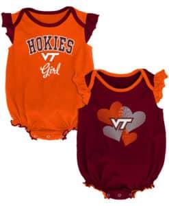 Virginia Tech Hokies Baby Girl 2 Pack Onesie Creeper Set