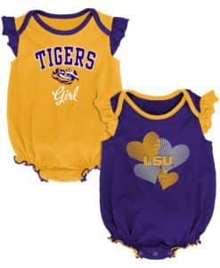 LSU Tigers Baby Girl 2 Pack Onesie Creeper Set