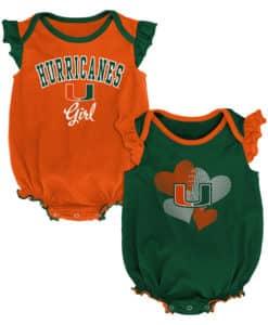 Miami Hurricanes Baby Girl 2 Pack Onesie Creeper Set