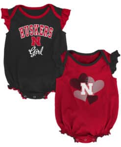 Nebraska Cornhuskers Baby Girl 2 Pack Onesie Creeper Set