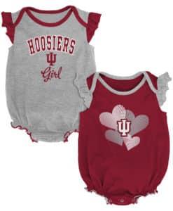 Indiana Hoosiers Baby Girl 2 Pack Onesie Creeper Set