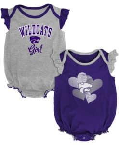 Kansas State Wildcats Baby Girl 2 Pack Onesie Creeper Set