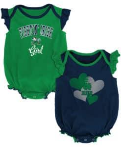 Notre Dame Fighting Irish Baby Girl 2 Pack Onesie Creeper Set