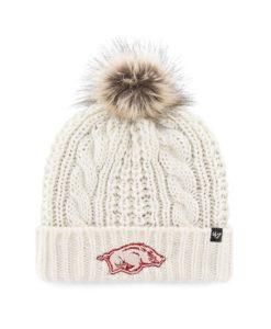 Arkansas Razorbacks Women's 47 Brand White Cream Meeko Cuff Knit Hat