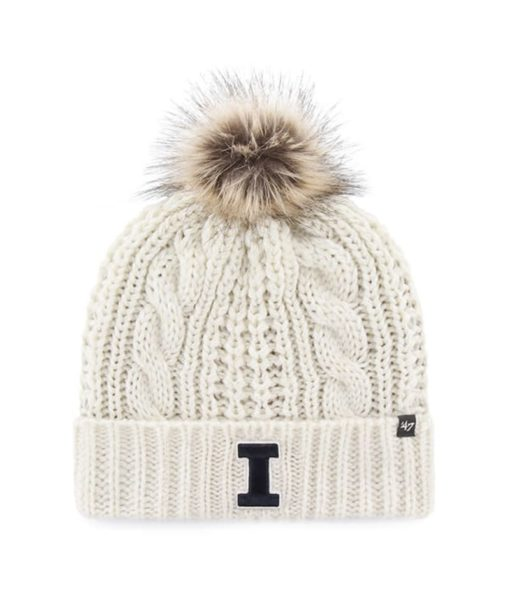 Illinois Fighting Illini Women's 47 Brand White Cream Meeko Cuff Knit Hat