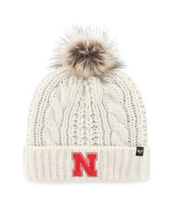 Nebraska Cornhuskers Women's 47 Brand White Cream Meeko Cuff Knit Hat