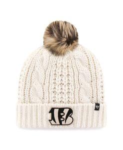Cincinnati Bengals Women's 47 Brand White Cream Meeko Cuff Knit Hat