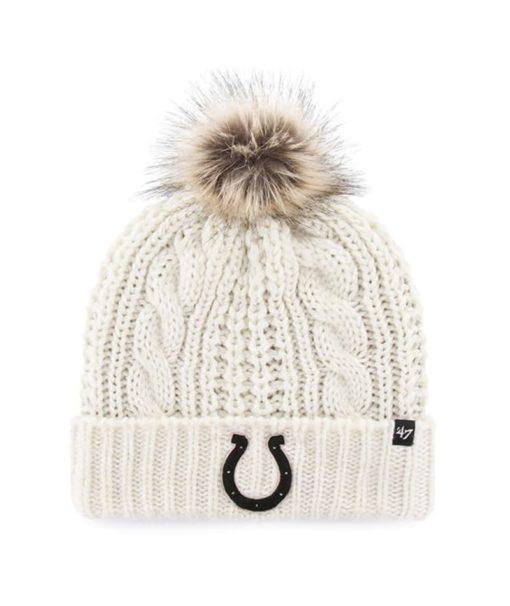 Indianapolis Colts Women's 47 Brand White Cream Meeko Cuff Knit Hat