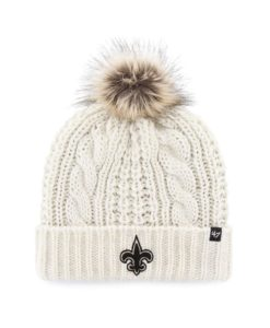 New Orleans Saints Women's 47 Brand White Cream Meeko Cuff Knit Hat