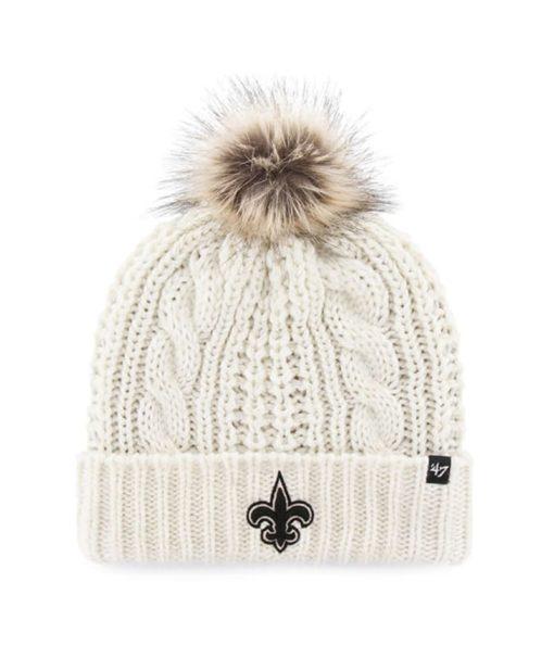 New Orleans Saints Women's 47 Brand White Cream Meeko Cuff Knit Hat