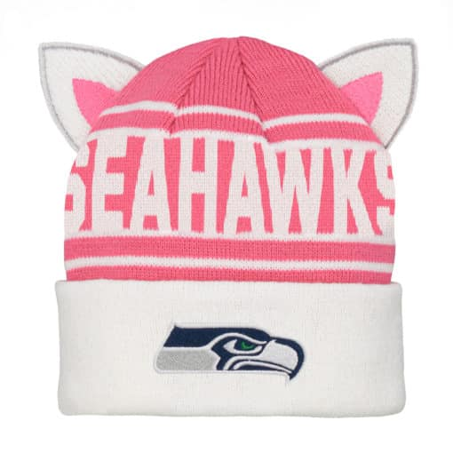 Seattle Seahawks KIDS Girls Pink Team Ears Cuff Knit Hat