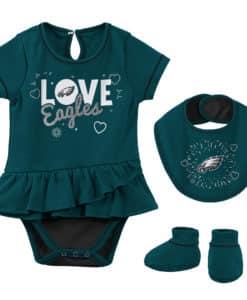 Philadelphia Eagles Baby Girls Midnight Green Love 3 Piece Creeper Set