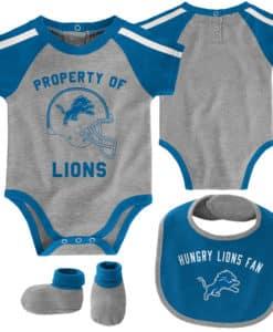 Detroit Lions Baby Gray 3 Piece Creeper Set