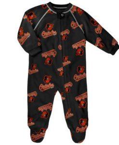 Baltimore Orioles Baby Black Raglan Zip Up Sleeper Coverall